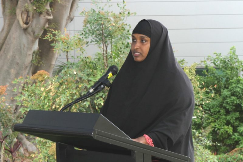 Farhia Haji, who spoke at the event